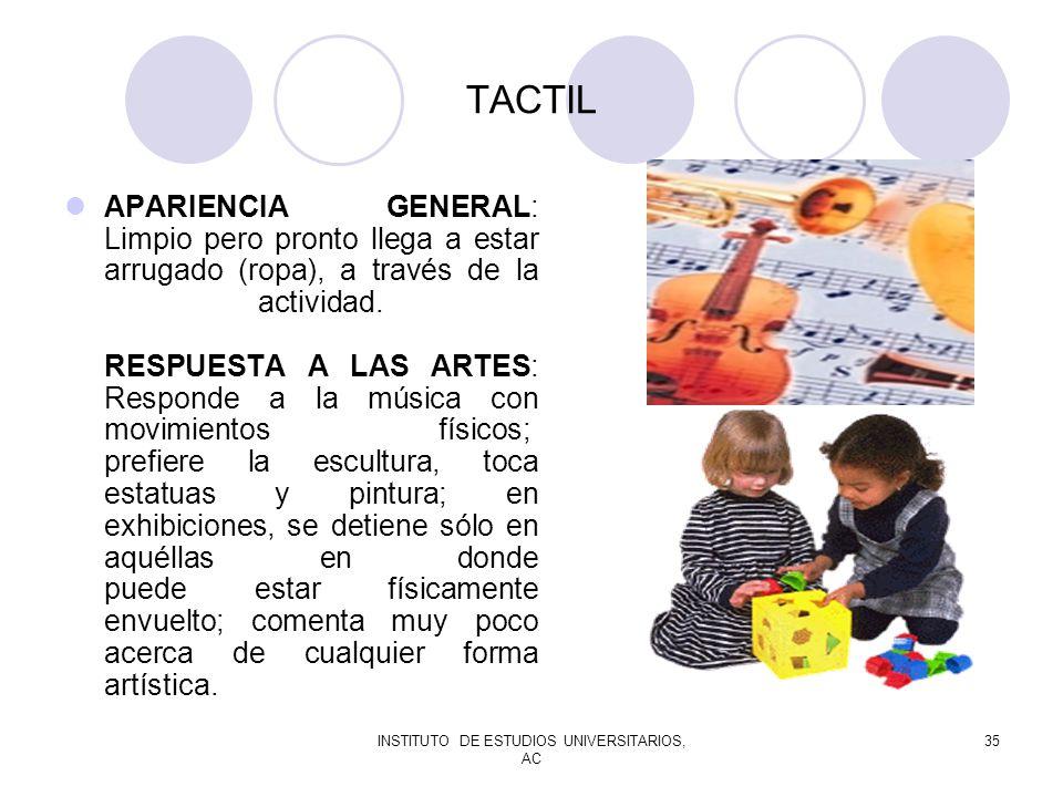 INSTITUTO DE ESTUDIOS UNIVERSITARIOS, AC 35 TACTIL APARIENCIA GENERAL: Limpio pero pronto llega a estar arrugado (ropa), a través de la actividad. RES
