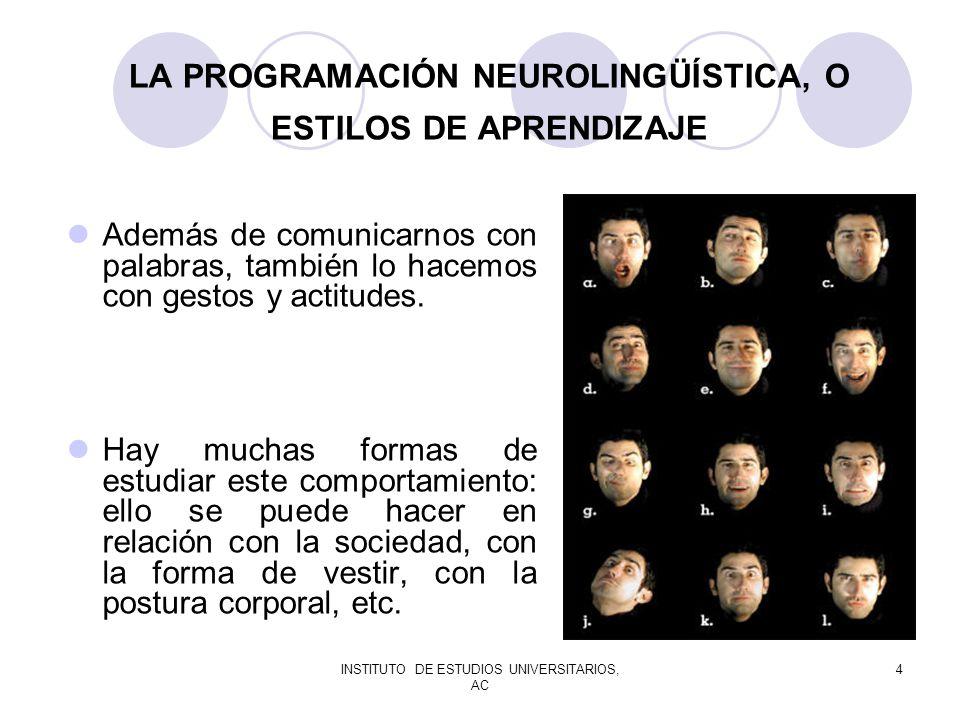 INSTITUTO DE ESTUDIOS UNIVERSITARIOS, AC 4 LA PROGRAMACIÓN NEUROLINGÜÍSTICA, O ESTILOS DE APRENDIZAJE Además de comunicarnos con palabras, también lo