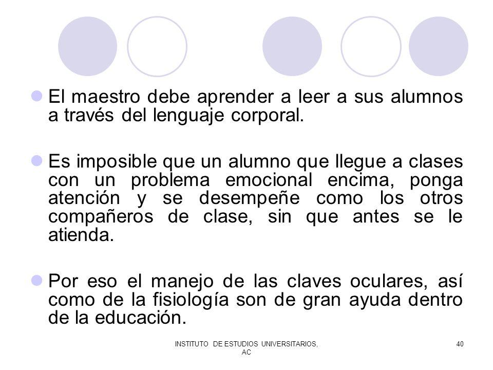 INSTITUTO DE ESTUDIOS UNIVERSITARIOS, AC 40 El maestro debe aprender a leer a sus alumnos a través del lenguaje corporal. Es imposible que un alumno q