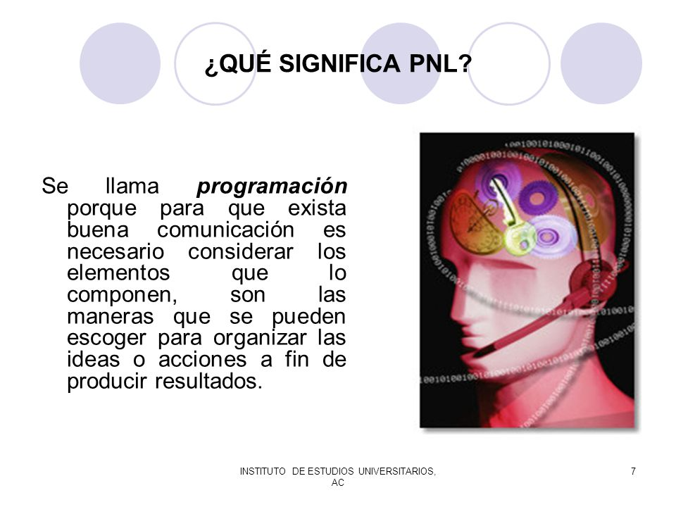 INSTITUTO DE ESTUDIOS UNIVERSITARIOS, AC 7 ¿QUÉ SIGNIFICA PNL? Se llama programación porque para que exista buena comunicación es necesario considerar