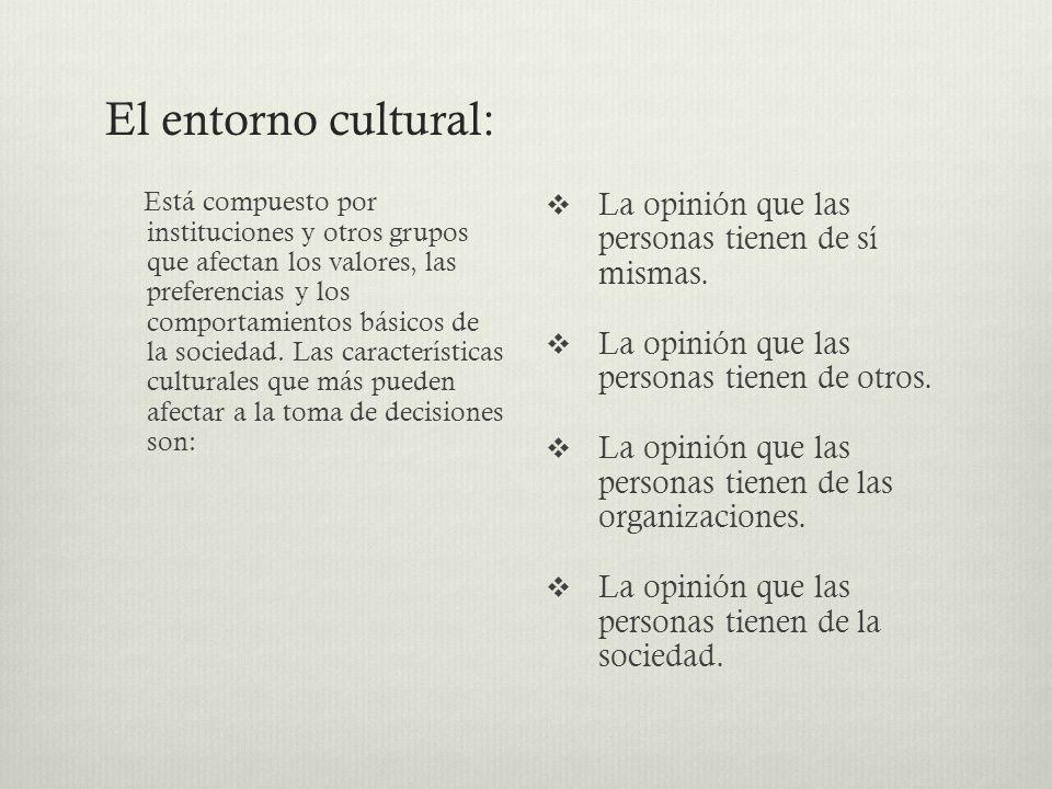 El entorno cultural: Está compuesto por instituciones y otros grupos que afectan los valores, las preferencias y los comportamientos básicos de la soc