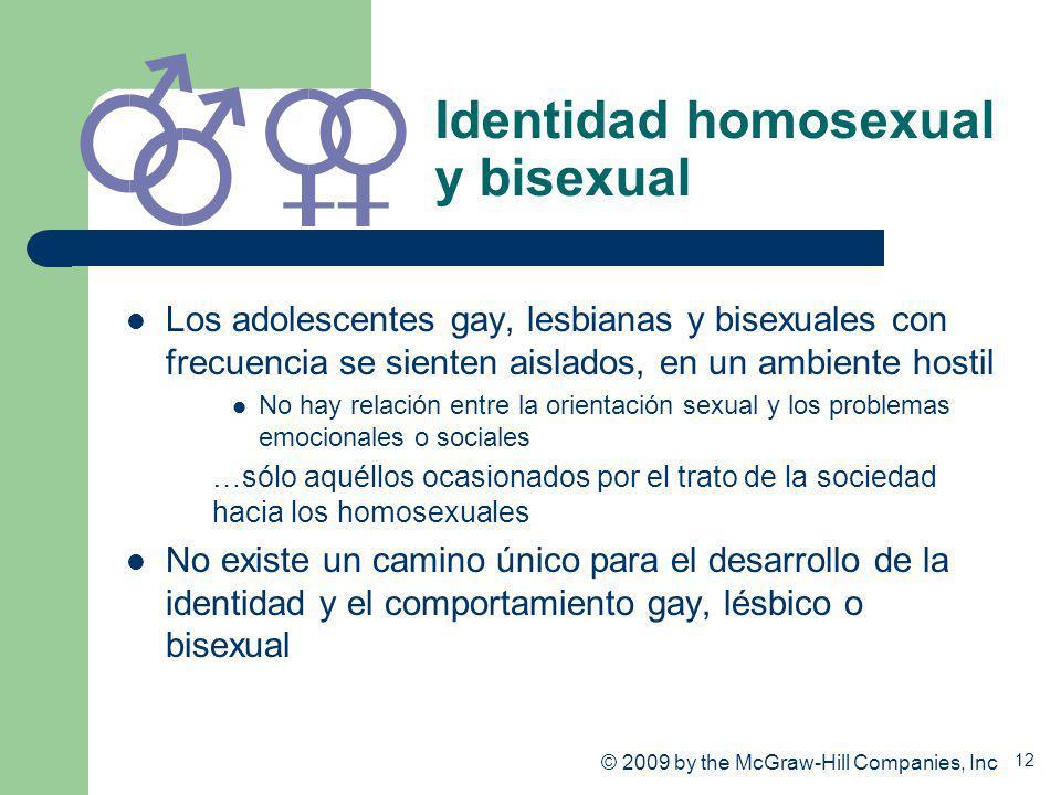 12 Identidad homosexual y bisexual Los adolescentes gay, lesbianas y bisexuales con frecuencia se sienten aislados, en un ambiente hostil No hay relac