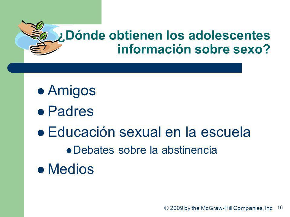 16 ¿Dónde obtienen los adolescentes información sobre sexo? Amigos Padres Educación sexual en la escuela Debates sobre la abstinencia Medios © 2009 by