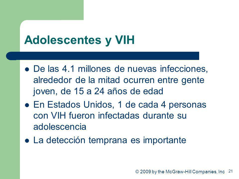21 Adolescentes y VIH De las 4.1 millones de nuevas infecciones, alrededor de la mitad ocurren entre gente joven, de 15 a 24 años de edad En Estados U