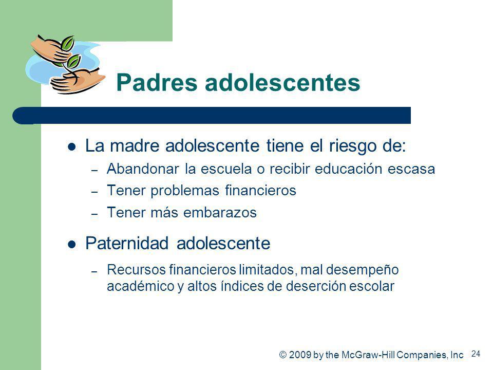 24 Padres adolescentes La madre adolescente tiene el riesgo de: – Abandonar la escuela o recibir educación escasa – Tener problemas financieros – Tene