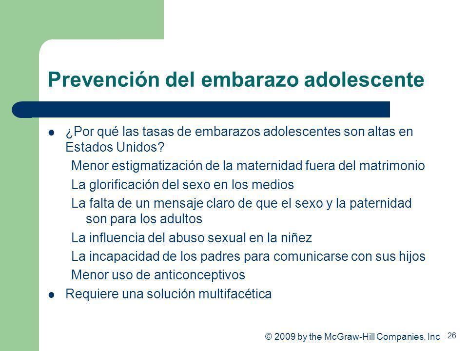 26 Prevención del embarazo adolescente ¿Por qué las tasas de embarazos adolescentes son altas en Estados Unidos? Menor estigmatización de la maternida