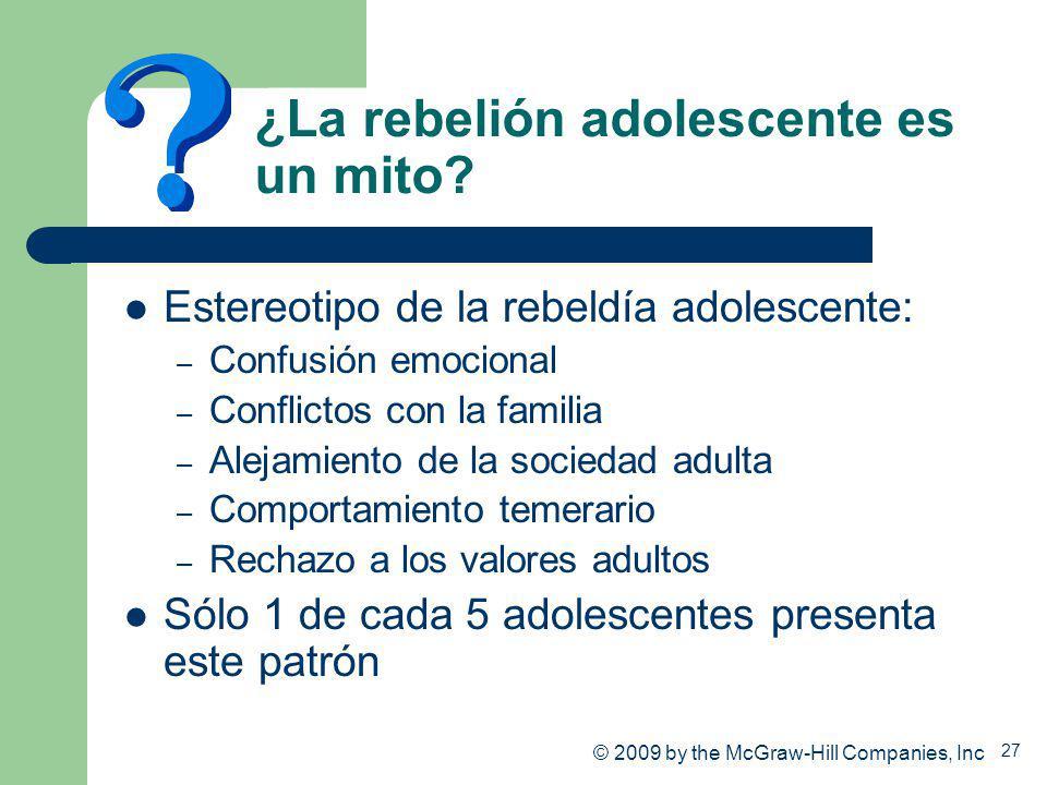 27 ¿La rebelión adolescente es un mito? Estereotipo de la rebeldía adolescente: – Confusión emocional – Conflictos con la familia – Alejamiento de la