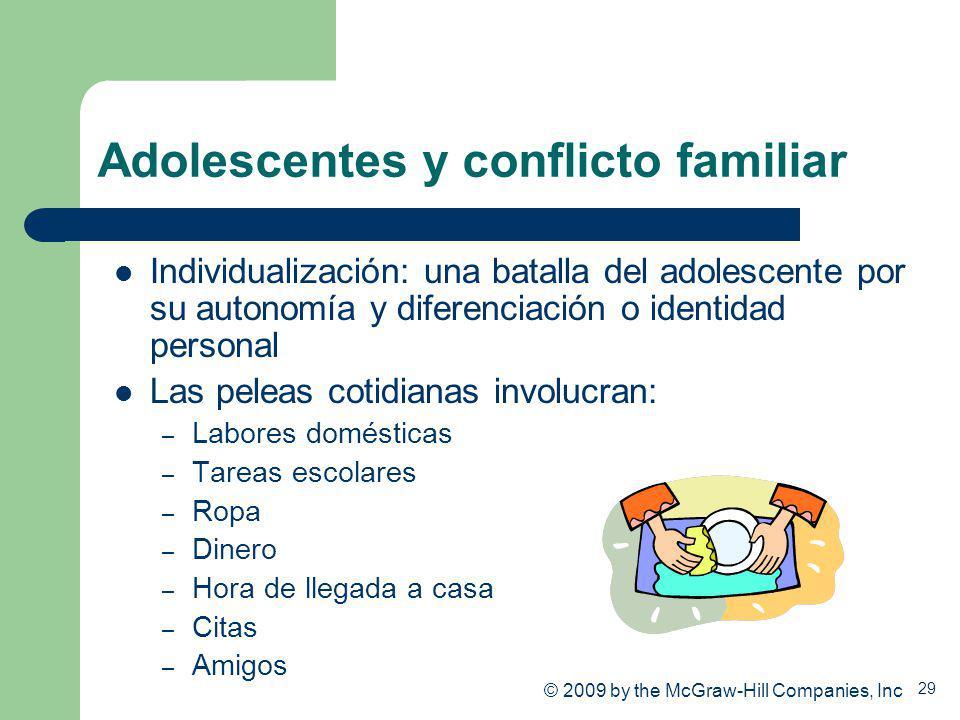 29 Adolescentes y conflicto familiar Individualización: una batalla del adolescente por su autonomía y diferenciación o identidad personal Las peleas