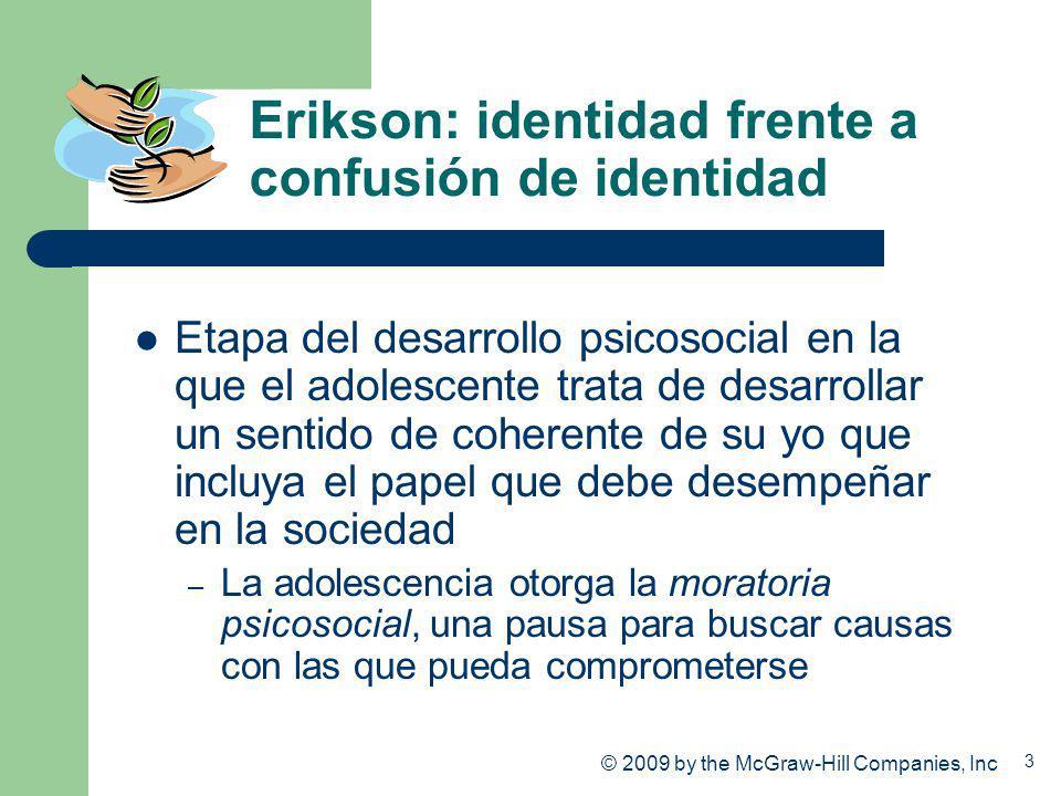 3 Erikson: identidad frente a confusión de identidad Etapa del desarrollo psicosocial en la que el adolescente trata de desarrollar un sentido de cohe