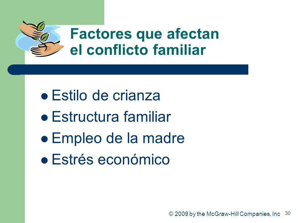 30 Factores que afectan el conflicto familiar Estilo de crianza Estructura familiar Empleo de la madre Estrés económico © 2009 by the McGraw-Hill Comp