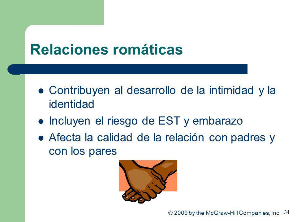 34 Relaciones romáticas Contribuyen al desarrollo de la intimidad y la identidad Incluyen el riesgo de EST y embarazo Afecta la calidad de la relación