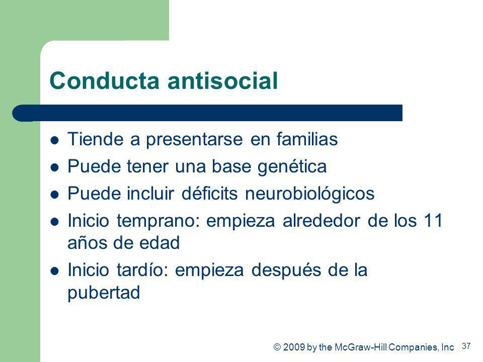 37 Conducta antisocial Tiende a presentarse en familias Puede tener una base genética Puede incluir déficits neurobiológicos Inicio temprano: empieza