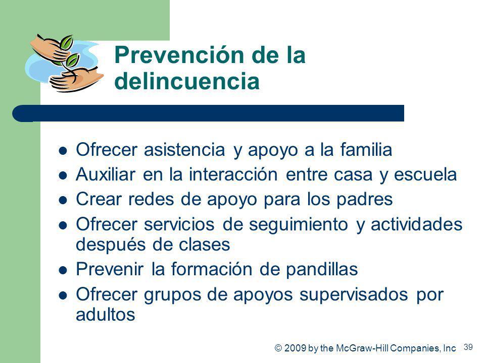 39 Prevención de la delincuencia Ofrecer asistencia y apoyo a la familia Auxiliar en la interacción entre casa y escuela Crear redes de apoyo para los