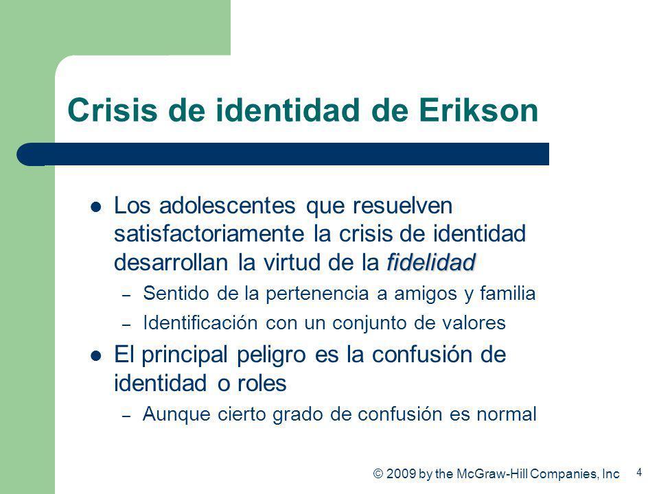 4 Crisis de identidad de Erikson fidelidad Los adolescentes que resuelven satisfactoriamente la crisis de identidad desarrollan la virtud de la fideli