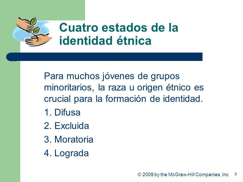 8 Cuatro estados de la identidad étnica Para muchos jóvenes de grupos minoritarios, la raza u origen étnico es crucial para la formación de identidad.