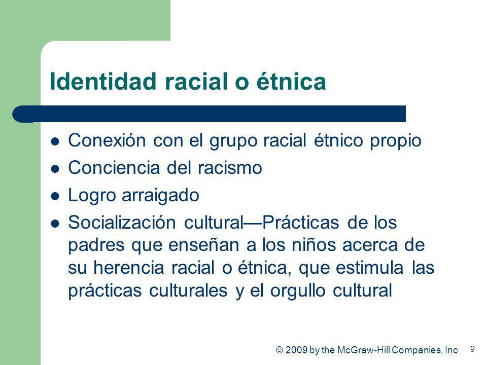 9 Identidad racial o étnica Conexión con el grupo racial étnico propio Conciencia del racismo Logro arraigado Socialización culturalPrácticas de los p