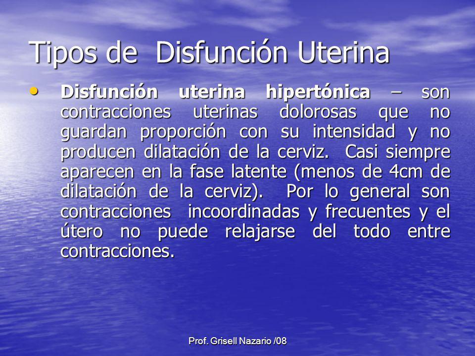 Prof. Grisell Nazario /08 Tipos de Disfunción Uterina Disfunción uterina hipertónica – son contracciones uterinas dolorosas que no guardan proporción