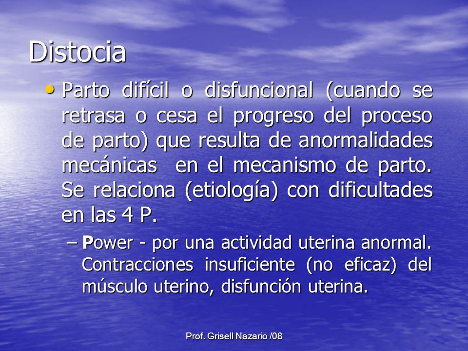 Prof. Grisell Nazario /08 Distocia Parto difícil o disfuncional (cuando se retrasa o cesa el progreso del proceso de parto) que resulta de anormalidad