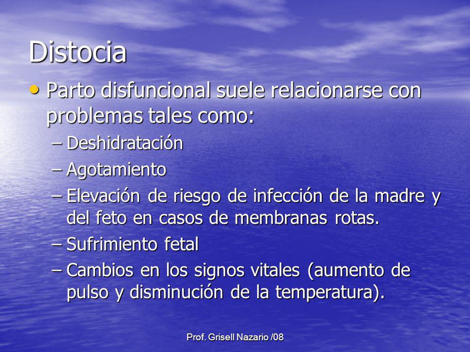 Prof. Grisell Nazario /08 Distocia Parto disfuncional suele relacionarse con problemas tales como: Parto disfuncional suele relacionarse con problemas