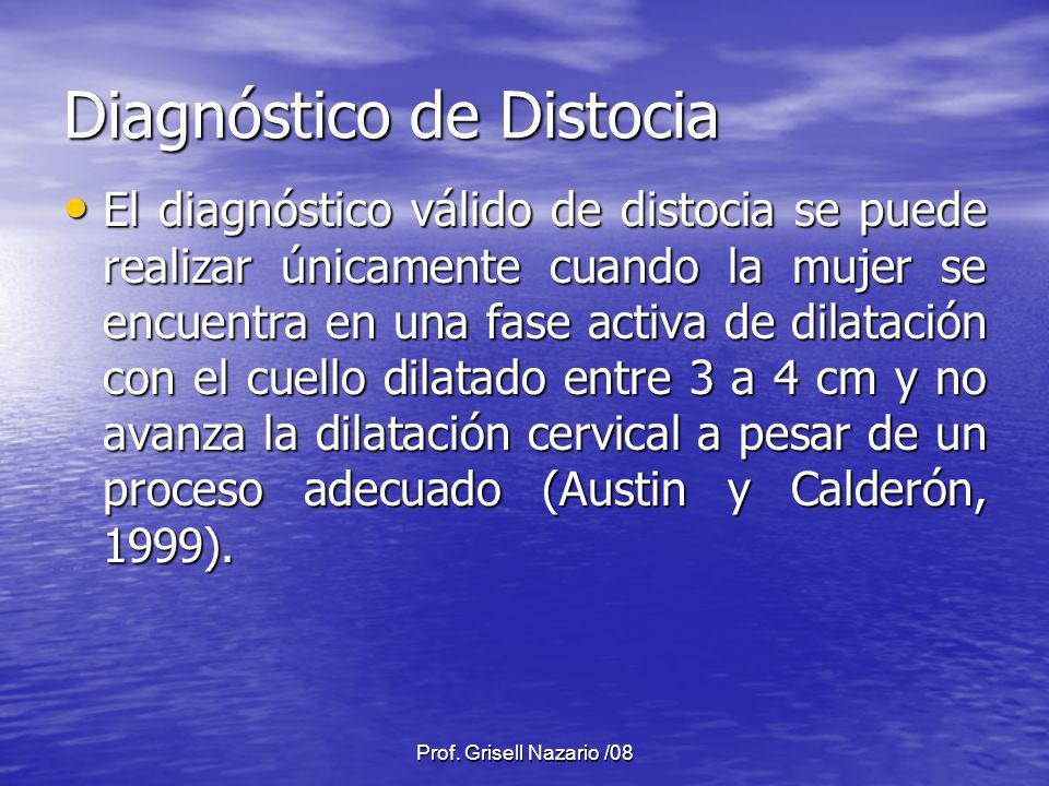 Prof. Grisell Nazario /08 Diagnóstico de Distocia El diagnóstico válido de distocia se puede realizar únicamente cuando la mujer se encuentra en una f