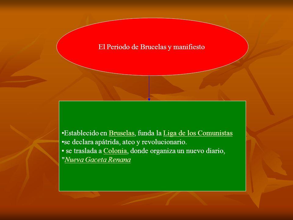 El Periodo de Brucelas y manifiesto Establecido en Bruselas, funda la Liga de los ComunistasBruselasLiga de los Comunistas se declara apátrida, ateo y revolucionario.