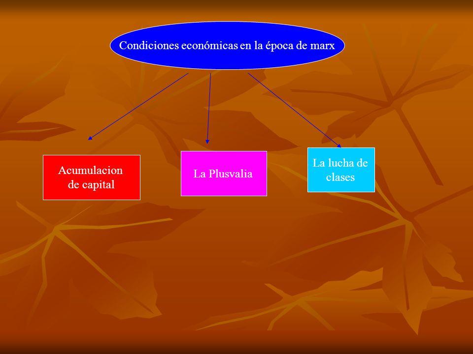 Condiciones económicas en la época de marx Acumulacion de capital La Plusvalia La lucha de clases