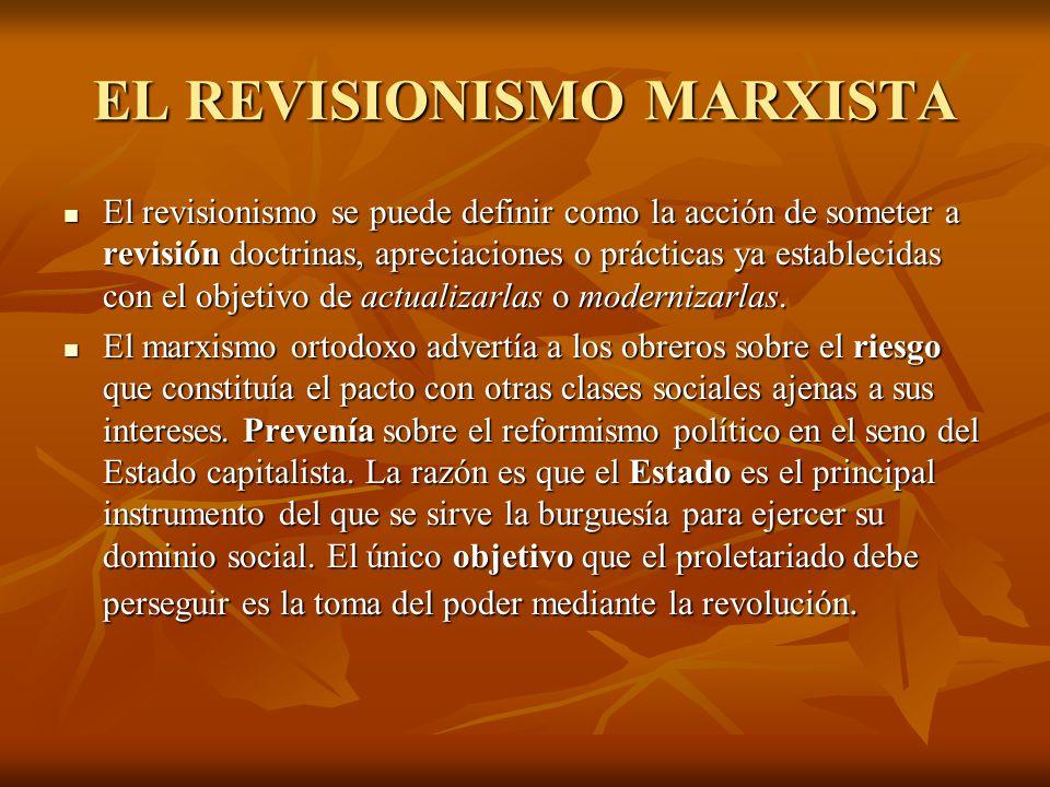 EL REVISIONISMO MARXISTA El revisionismo se puede definir como la acción de someter a revisión doctrinas, apreciaciones o prácticas ya establecidas con el objetivo de actualizarlas o modernizarlas.