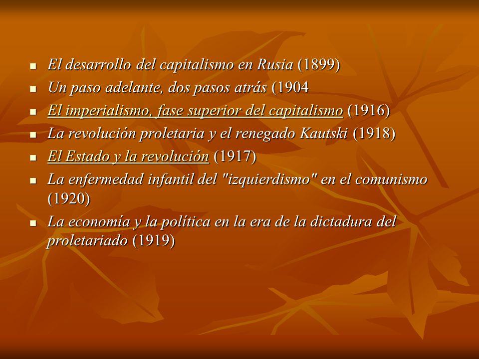 El desarrollo del capitalismo en Rusia (1899) El desarrollo del capitalismo en Rusia (1899) Un paso adelante, dos pasos atrás (1904 Un paso adelante, dos pasos atrás (1904 El imperialismo, fase superior del capitalismo (1916) El imperialismo, fase superior del capitalismo (1916) El imperialismo, fase superior del capitalismo El imperialismo, fase superior del capitalismo La revolución proletaria y el renegado Kautski (1918) La revolución proletaria y el renegado Kautski (1918) El Estado y la revolución (1917) El Estado y la revolución (1917) El Estado y la revolución El Estado y la revolución La enfermedad infantil del izquierdismo en el comunismo (1920) La enfermedad infantil del izquierdismo en el comunismo (1920) La economía y la política en la era de la dictadura del proletariado (1919) La economía y la política en la era de la dictadura del proletariado (1919)