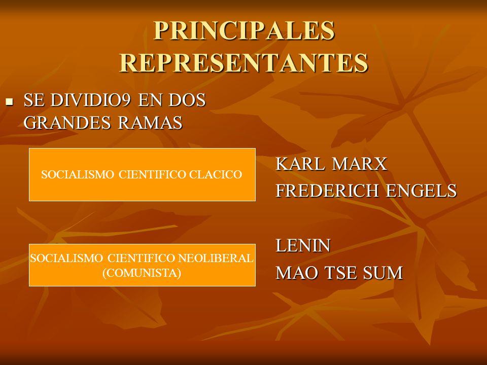 PRINCIPALES REPRESENTANTES SE DIVIDIO9 EN DOS GRANDES RAMAS SE DIVIDIO9 EN DOS GRANDES RAMAS KARL MARX FREDERICH ENGELS LENIN MAO TSE SUM SOCIALISMO C