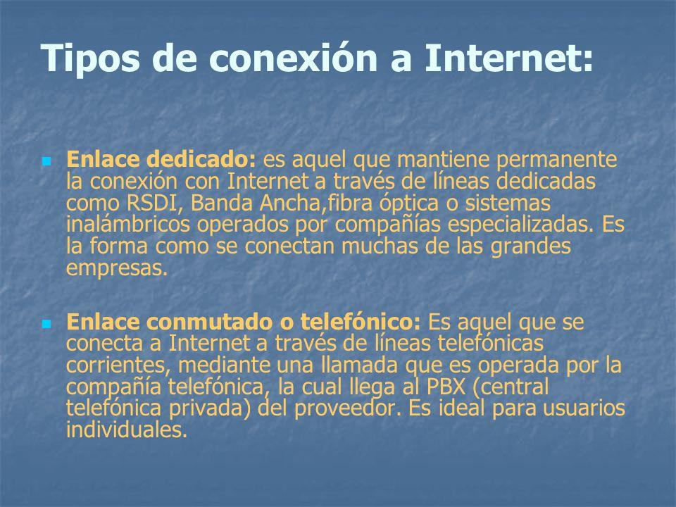 Tipos de conexión a Internet: Enlace dedicado: es aquel que mantiene permanente la conexión con Internet a través de líneas dedicadas como RSDI, Banda