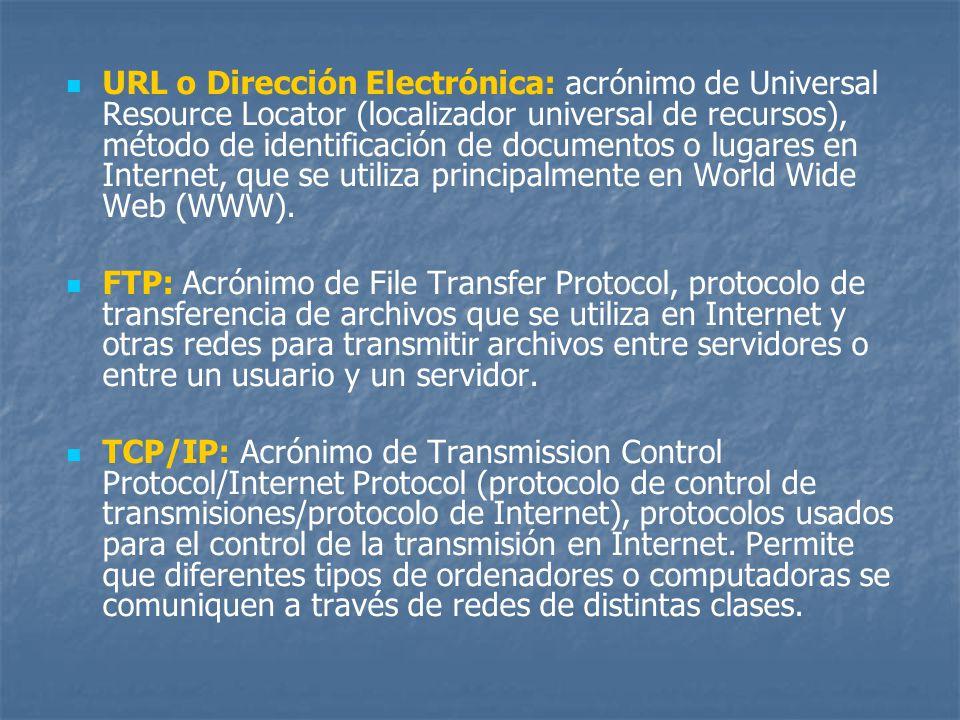 URL o Dirección Electrónica: acrónimo de Universal Resource Locator (localizador universal de recursos), método de identificación de documentos o luga