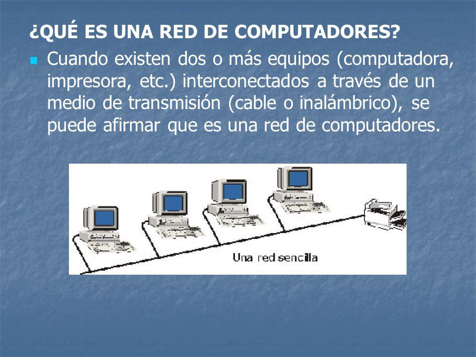 ¿QUÉ ES UNA RED DE COMPUTADORES? Cuando existen dos o más equipos (computadora, impresora, etc.) interconectados a través de un medio de transmisión (