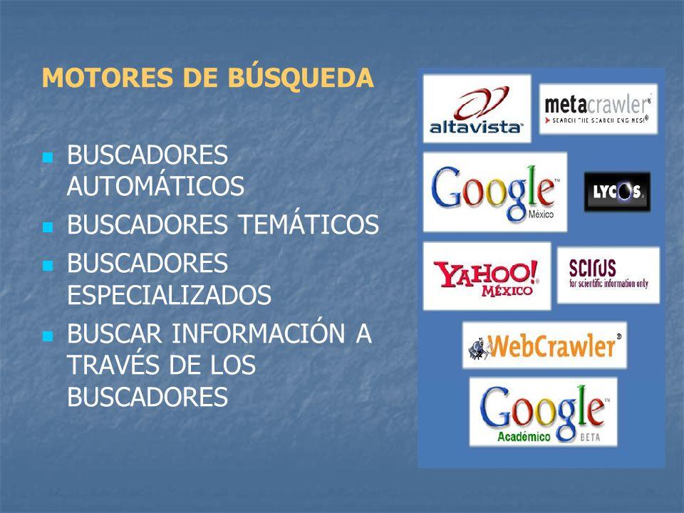 MOTORES DE BÚSQUEDA BUSCADORES AUTOMÁTICOS BUSCADORES TEMÁTICOS BUSCADORES ESPECIALIZADOS BUSCAR INFORMACIÓN A TRAVÉS DE LOS BUSCADORES