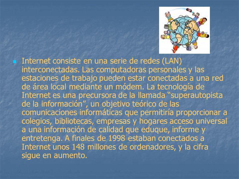 Internet consiste en una serie de redes (LAN) interconectadas. Las computadoras personales y las estaciones de trabajo pueden estar conectadas a una r
