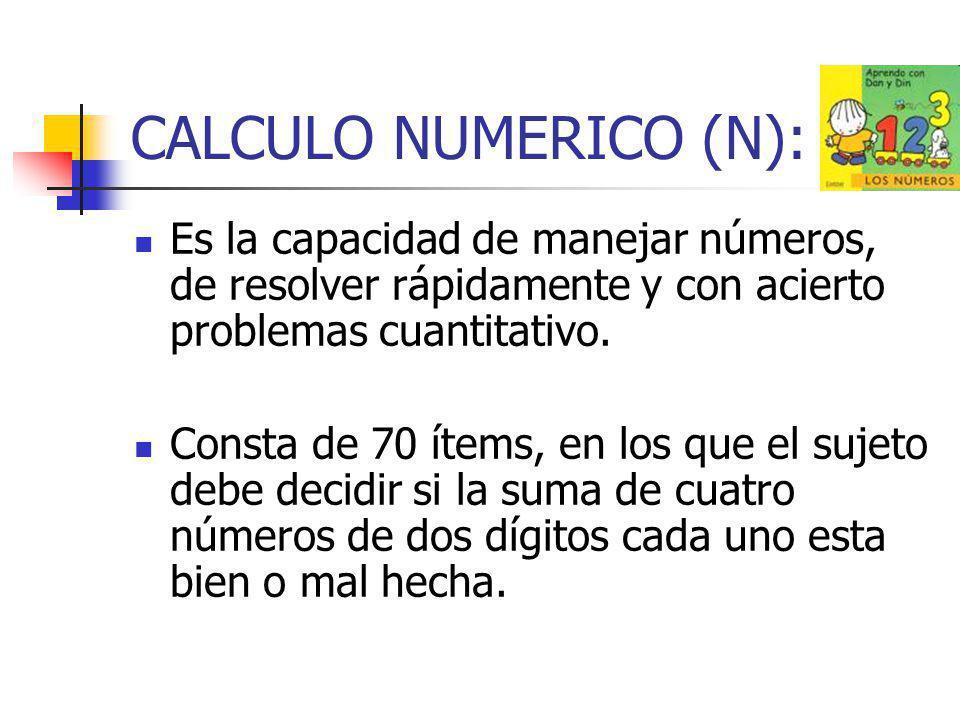 CALCULO NUMERICO (N): Es la capacidad de manejar números, de resolver rápidamente y con acierto problemas cuantitativo. Consta de 70 ítems, en los que
