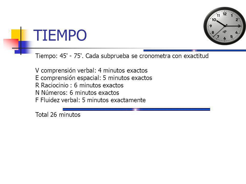 TIEMPO Tiempo: 45' - 75'. Cada subprueba se cronometra con exactitud V comprensión verbal: 4 minutos exactos E comprensión espacial: 5 minutos exactos