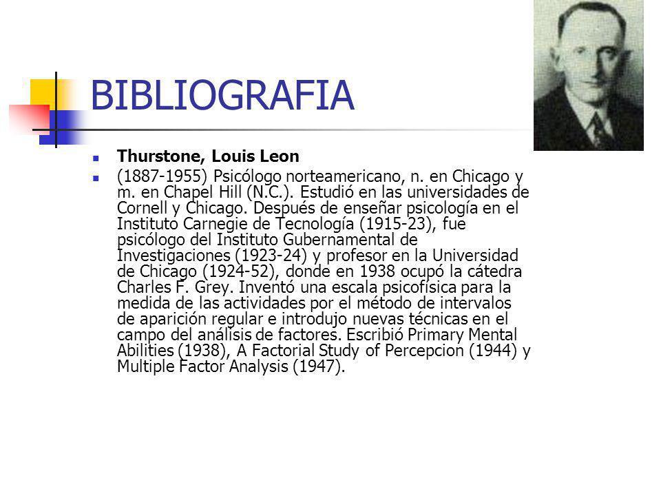BIBLIOGRAFIA Thurstone, Louis Leon (1887-1955) Psicólogo norteamericano, n. en Chicago y m. en Chapel Hill (N.C.). Estudió en las universidades de Cor