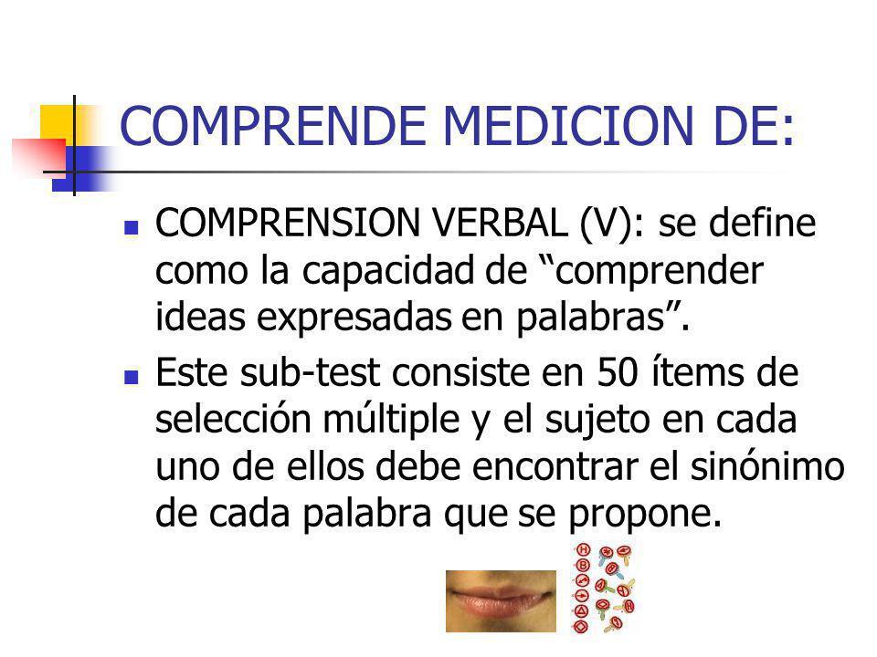 COMPRENDE MEDICION DE: COMPRENSION VERBAL (V): se define como la capacidad de comprender ideas expresadas en palabras. Este sub-test consiste en 50 ít