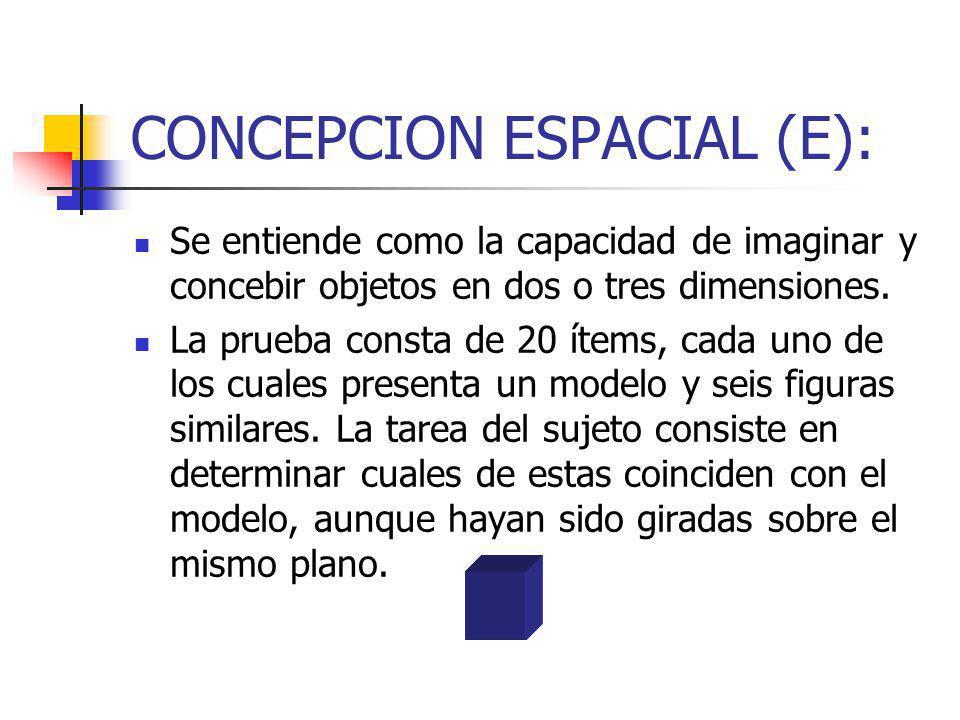 CONCEPCION ESPACIAL (E): Se entiende como la capacidad de imaginar y concebir objetos en dos o tres dimensiones. La prueba consta de 20 ítems, cada un