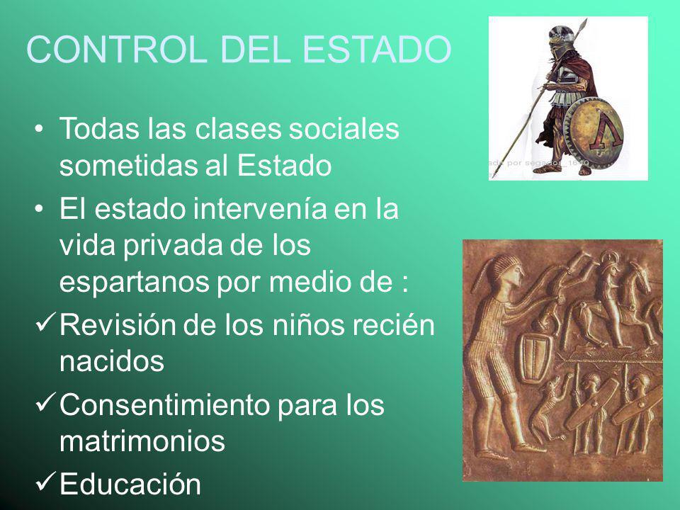 CONTROL DEL ESTADO Todas las clases sociales sometidas al Estado El estado intervenía en la vida privada de los espartanos por medio de : Revisión de
