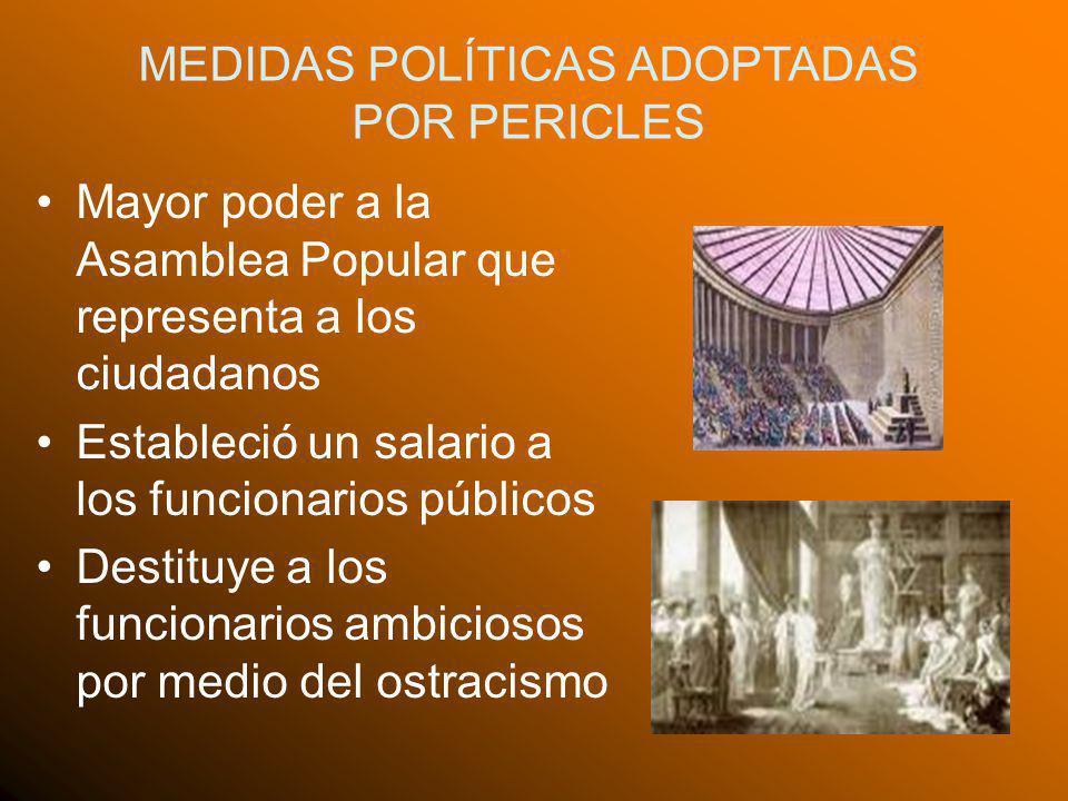MEDIDAS POLÍTICAS ADOPTADAS POR PERICLES Mayor poder a la Asamblea Popular que representa a los ciudadanos Estableció un salario a los funcionarios pú
