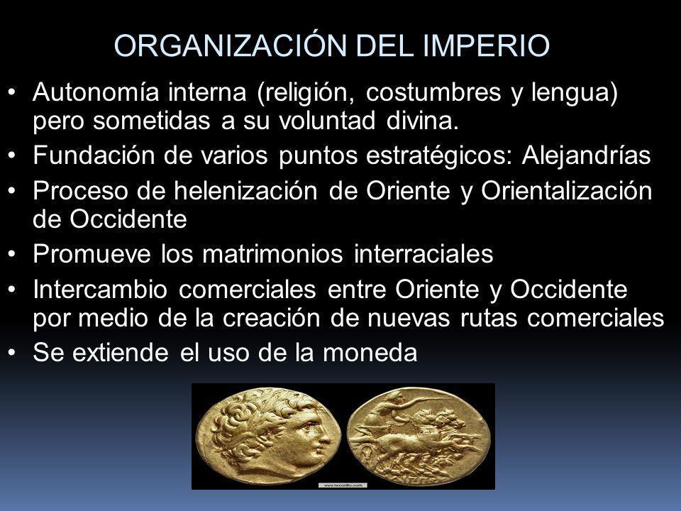 ORGANIZACIÓN DEL IMPERIO Autonomía interna (religión, costumbres y lengua) pero sometidas a su voluntad divina. Fundación de varios puntos estratégico