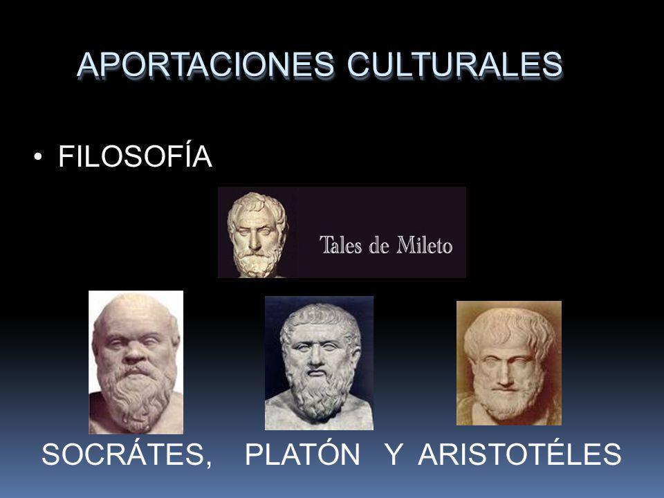 APORTACIONES CULTURALES FILOSOFÍA SOCRÁTES, PLATÓN Y ARISTOTÉLES