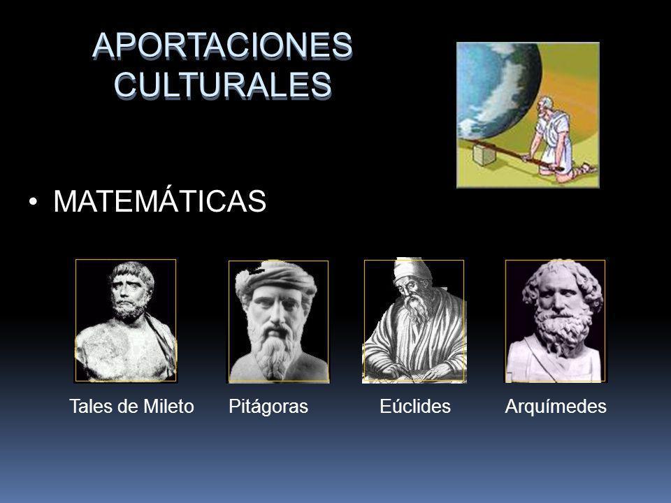 APORTACIONES CULTURALES MATEMÁTICAS Tales de Mileto Pitágoras Eúclides Arquímedes