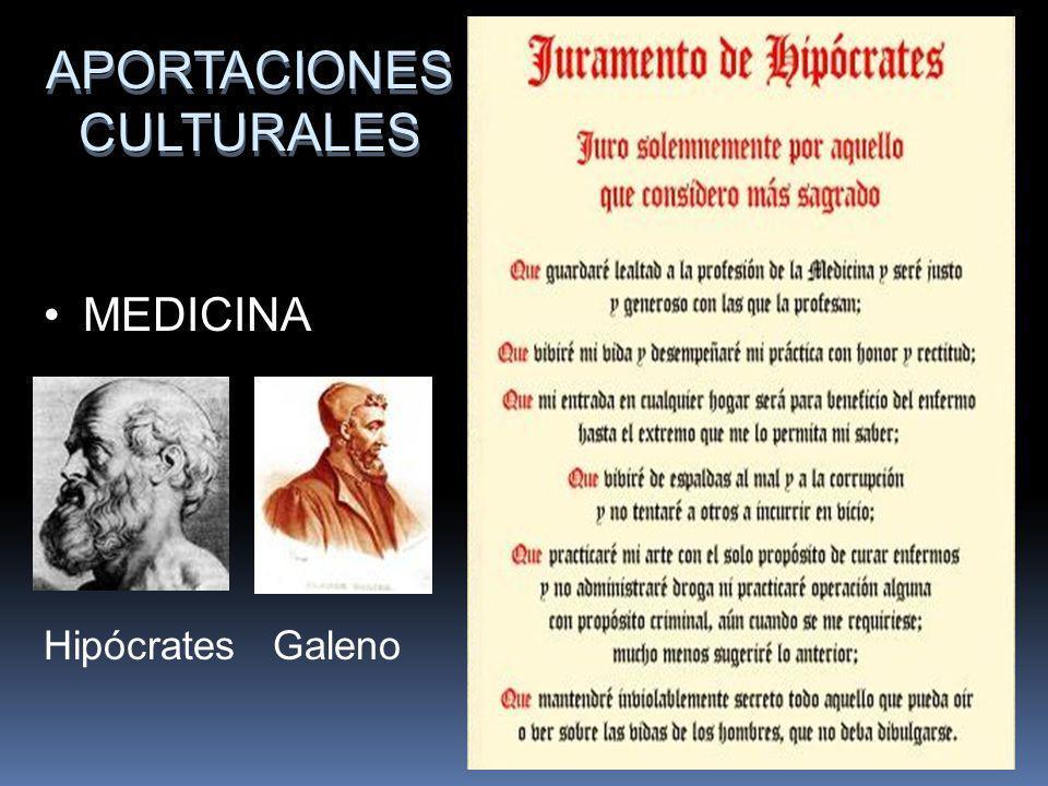 APORTACIONES CULTURALES MEDICINA Hipócrates Galeno