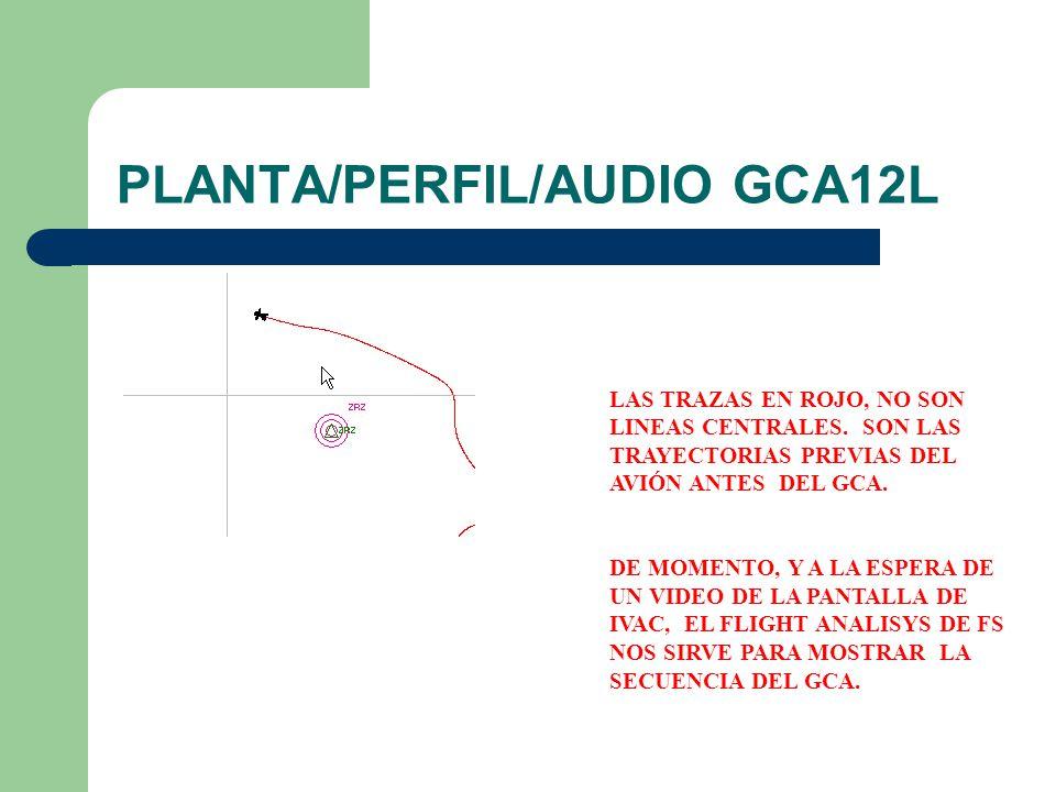 PLANTA/PERFIL/AUDIO GCA12L LAS TRAZAS EN ROJO, NO SON LINEAS CENTRALES. SON LAS TRAYECTORIAS PREVIAS DEL AVIÓN ANTES DEL GCA. DE MOMENTO, Y A LA ESPER