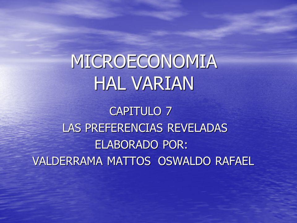 MICROECONOMIA HAL VARIAN CAPITULO 7 CAPITULO 7 LAS PREFERENCIAS REVELADAS LAS PREFERENCIAS REVELADAS ELABORADO POR: ELABORADO POR: VALDERRAMA MATTOS O
