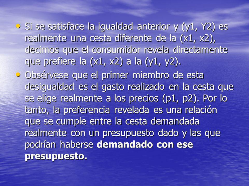 Si se satisface la igualdad anterior y (y1, Y2) es realmente una cesta diferente de la (x1, x2), decimos que el consumidor revela directamente que pre