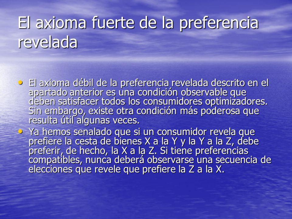 El axioma fuerte de la preferencia revelada El axioma débil de la preferencia revelada descrito en el apartado anterior es una condición observable qu