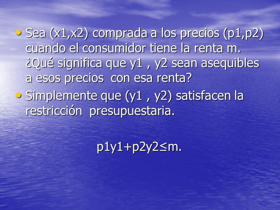 Sea (x1,x2) comprada a los precios (p1,p2) cuando el consumidor tiene la renta m. ¿Qué significa que y1, y2 sean asequibles a esos precios con esa ren